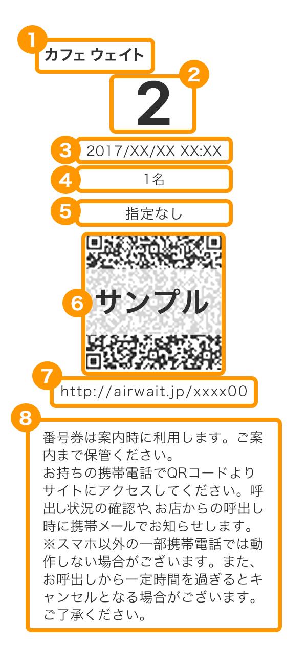 Airウェイト 番号券サンプル