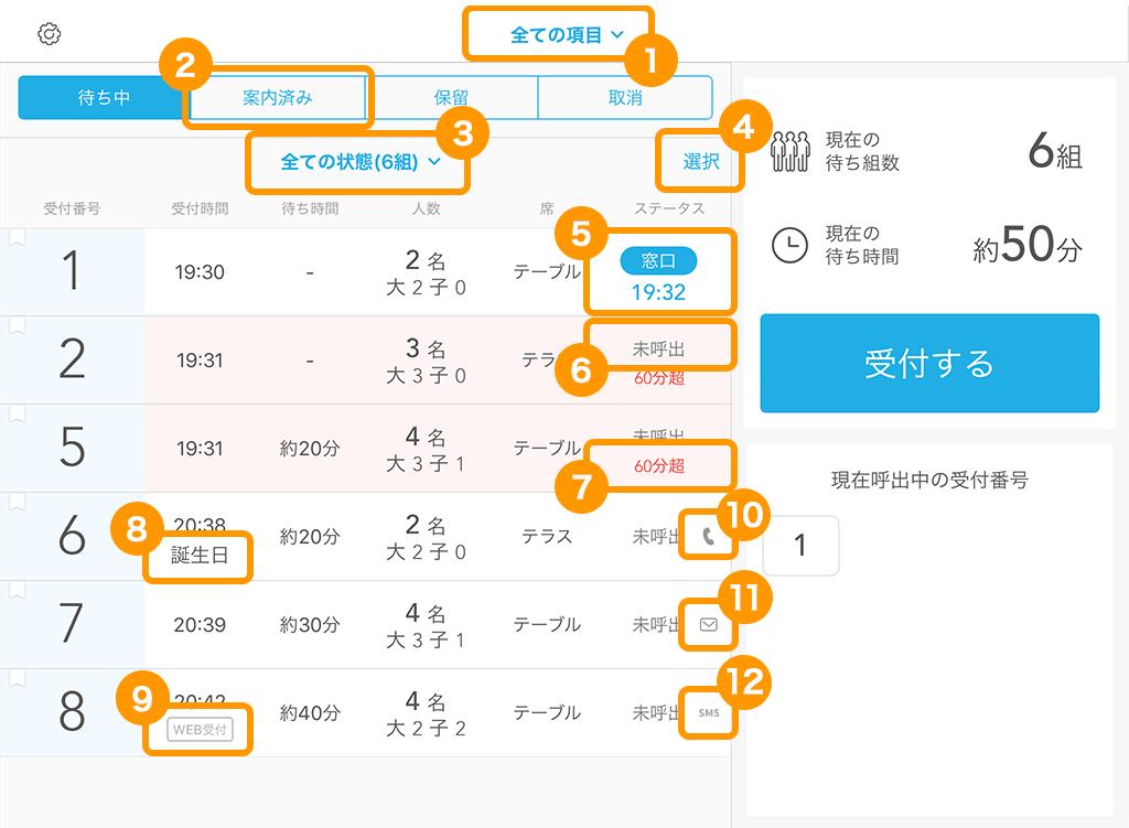Airウェイト 受付画面(店舗モード)